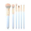 6pcs Blue Antibacterial Bamboo Charcoal Synthetic Hair Travel Makeup Brush set Wood Handle