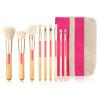 9pcs Biodegradable Handle Durable Synthetic Hair Eco Bamboo Makeup Brush Set with Linen Bag Face Powder